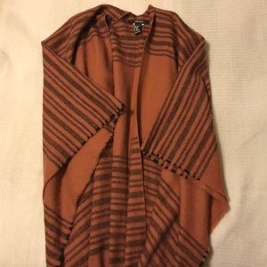Burnt Orange/Brown Shawl with Fringe Hem